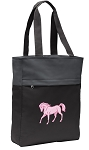 Cute Horse Tote Bag Everyday Carryall Black