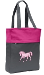 Cute Horse Tote Bag Everyday Carryall Pink