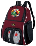 Soccer Ball Backpack Bag Maroon