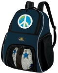 Peace Sign Soccer Ball Backpack or World Peace Volleyball Practice Gear Bag Navy