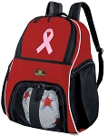 Pink Ribbon Soccer Backpack or Pink Ribbon Volleyball Practice Bag Red Boys or Girls