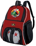 Red Soccer Ball Backpack with Ball Pocket