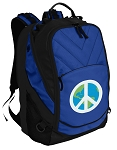 Peace Sign Deluxe Computer Backpack Blue