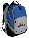 Peace Frogs Deluxe Laptop Backpack Blue