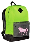 Horse Design Backpack HI VISIBILITY Green CLASSIC STYLE