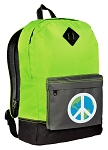 Peace Sign Backpack Classic Style Fashion Green