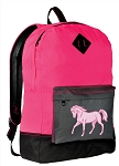 Horse Design Backpack HI VISIBILITY Pink CLASSIC STYLE