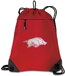 University of Arkansas Drawstring Backpack MESH & MICROFIBER Red
