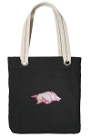 University of Arkansas Tote Bag RICH COTTON CANVAS Black