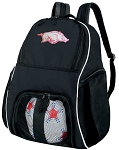 Womens University of Arkansas Soccer Backpack or Arkansas Razorbacks Volleyball Bag For Boys or Girls