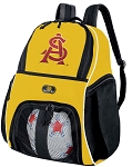 ASU Soccer Ball Backpack Bag Gold
