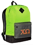 Chi Omega Backpack HI VISIBILITY Green CLASSIC STYLE