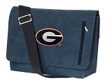 Georgia Bulldogs Messenger Bags STYLISH WASHED COTTON CANVAS Blue