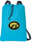 Iowa Hawkeyes Cotton Drawstring Bag Backpacks Blue