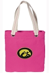 Iowa Hawkeyes Tote Bag RICH COTTON CANVAS Pink