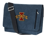 Iowa State Messenger Bags STYLISH WASHED COTTON CANVAS Blue