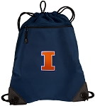 University of Illinois Illini Drawstring Backpack-MESH & MICROFIBER Navy