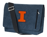 Illinois Illini Messenger Bags STYLISH WASHED COTTON CANVAS Blue