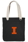University of Illinois Tote Bag RICH COTTON CANVAS Black