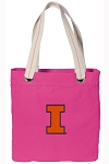 University of Illinois Tote Bag RICH COTTON CANVAS Pink