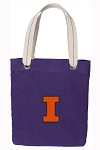 University of Illinois Tote Bag RICH COTTON CANVAS Purple