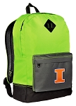 University of Illinois Backpack HI VISIBILITY Green Illini CLASSIC STYLE
