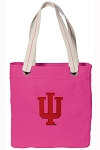 IU Indiana University Tote Bag RICH COTTON CANVAS Pink