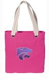 Kansas State Tote Bag RICH COTTON CANVAS Pink