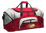 KU Jayhawks Duffle Bag or University of Kansas Gym Bags Red