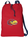 University of Kansas Cotton Drawstring Bag Backpacks Cool RED