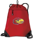 University of Kansas Drawstring Backpack MESH & MICROFIBER Red