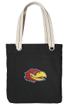 Kansas Jayhawks Tote Bag RICH COTTON CANVAS Black