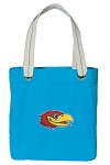 University of Kansas Tote Bag RICH COTTON CANVAS Turquoise