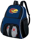 University of Kansas Soccer Ball Backpack or KU Jayhawks Volleyball Practice Gear Bag Navy
