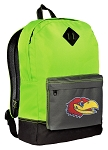 University of Kansas Backpack HI VISIBILITY Green KU Jayhawks CLASSIC STYLE
