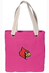 Louisville Cardinals Tote Bag RICH COTTON CANVAS Pink