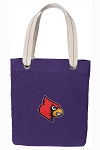 Louisville Cardinals Tote Bag RICH COTTON CANVAS Purple