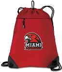 Miami University Drawstring Backpack MESH & MICROFIBER Red