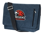 Miami Redhawks Messenger Bags STYLISH WASHED COTTON CANVAS Blue
