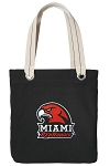 Miami University Redhawks Tote Bag RICH COTTON CANVAS Black