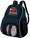 Miami University Soccer Ball Backpack or Miami RedHawks Volleyball Practice Gear Bag Navy