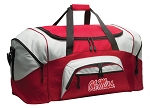 University of Mississippi Duffle Bag or Ole Miss Gym Bags Red