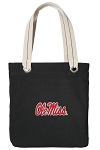 University of Mississippi Tote Bag RICH COTTON CANVAS Black