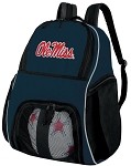 Ole Miss Soccer Ball Backpack or University of Mississippi Volleyball Practice Gear Bag Navy