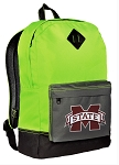 Mississippi State University Backpack HI VISIBILITY Green MSU Bulldogs CLASSIC STYLE