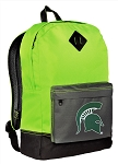 Michigan State University Backpack HI VISIBILITY Green Michigan State CLASSIC STYLE