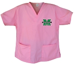 Marshall University Pink Scrubs Tops SHIRT