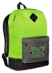 Marshall University Backpack HI VISIBILITY Green Marshall CLASSIC STYLE