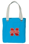 University of Nebraska Tote Bag RICH COTTON CANVAS Turquoise