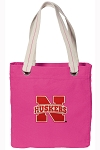 University of Nebraska Tote Bag RICH COTTON CANVAS Pink
